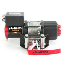 Rhino Electric Winch 4500lbs / 2040Kg 12V 15m Steel Cable Recovery Winch For ATV & Boats Including Fairlead Roller, Mounting Plate & Wireless Remotes