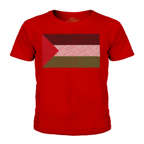 (Red, 5-6 Years) Candymix - Palestine Scribble Flag - Unisex Kid's T-Shirt