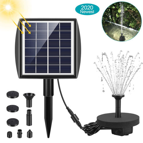 2.0W Solar Powered Fountain Pump for Birdbath Fountain Water Pump Kit