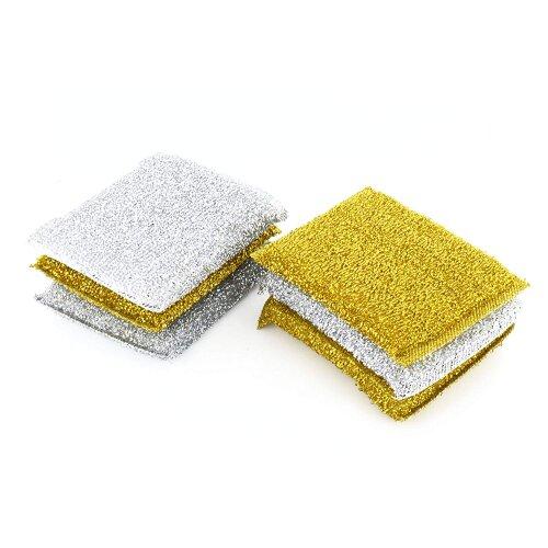 6 Metallic Scourers Scouring Pads Kitchen Cleaning Metal Sponge