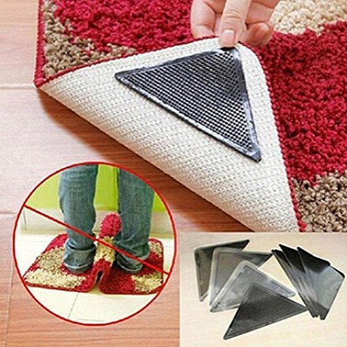 4 pcs Rug Grippers Non Slip Mat Rubber Carpet Grips Anti Skid Reusable