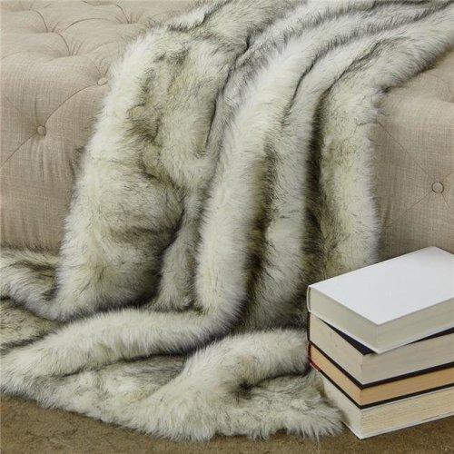 Plutus PBEZ1777-4860-TC 48 x 60 in. Polar Bear Faux Fur Luxury Throw - White & Black