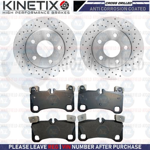 FOR VW TOUAREG 6.0 W12 REAR CROSS DRILLED PERFORMANCE BRAKE DISCS PADS 358mm
