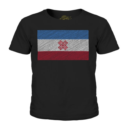 (Black, 9-10 Years) Candymix - Mari El Scribble Flag - Unisex Kid's T-Shirt