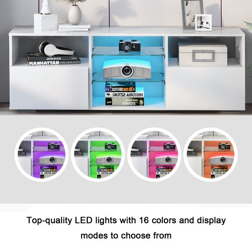 LED TV Stand Modern TV Unit, 130cm Cabinet Table with Storage/ Matt and White High Gloss Table / 16 Colors LED RGB lights Lliving room Furniture