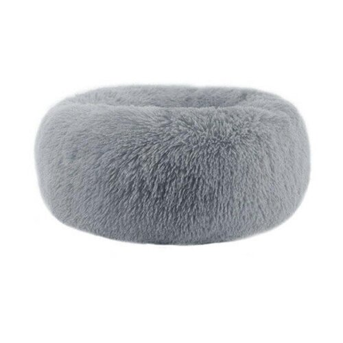 (Light Grey, S / 50cm) Washable Calming Comfy Donut Style Plush Cat Dog Pet Bed