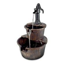 GardenKraft Outdoors 2-Tier Tap & Barrel Fountain Water Feature