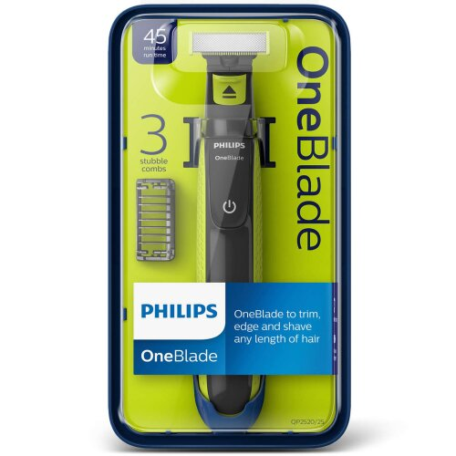 Philips OneBlade Wet Dry Facial Hair Trimmer Shaver, 45 Min Run, 3 Combs, QP2520/25