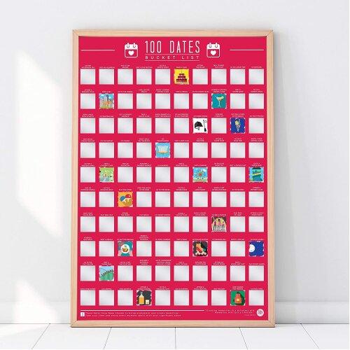 100 Dates Scratch Off Bucket List Poster A2