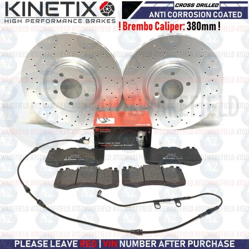 FOR RANGE ROVER FRONT CROSS DRILLED BRAKE DISCS BREMBO PADS WIRE SENSOR 380mm
