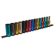 """Sealey AK2874D Multi-Coloured Socket Set 15pc 1/2""""Sq Drive 6pt Deep WallDrive"""