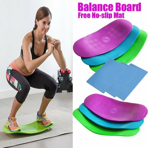 (Green With Non-slip Mat) Twisting Fitness Balance Board Fitness Training
