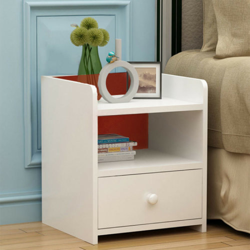 Morden White Wooden Bedside Table | Side Table With Drawer