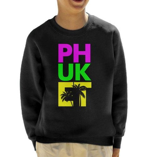 (Large (9-11 yrs)) Phuket Retro Colour Text Kid's Sweatshirt