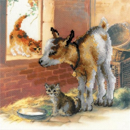 Riolis R0053 PT 11.75 x 11.75 in. Goatling & Kit - 10 Countten Stamped Cross Stitch Kit - 10 Count