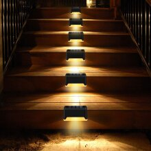 8Pcs LED Solar Powered Fence Wall Lights Garden Lamp Step Stair Light