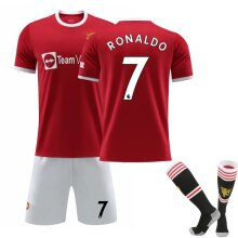 Cristiano Ronaldo 7# Cr7 Jersey Home 2021-2022 Season Manchester Soccer T-shirts Jersey Set For Kids Youths
