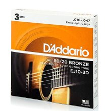 D'Addario EJ10-3D 80/20 Bronze Acoustic Guitar Strings, Extra Light, 10-47, 3 Sets