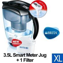 BRITA Elemaris XL Water Filter Jug and Cartridge, Black