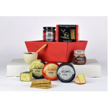 Cheese and Chutney Gift Set - Cheese Hamper with Oatcakes in a Tray