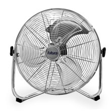 Futura High Velocity Floor Fan Large 20 Inch 50cm 110W Max Power Chrome Fan, Adjustable Heavy Duty 3 Speed Floor Standing Cooling Fan Portable