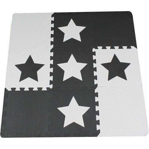 9 Black Interlocking Foam Baby Play Mat Star Tiles with Edges - Play Mats. Each Tile 30 x 30cms. Total 0.9m2.