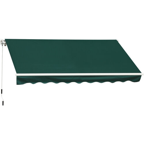 Outsunny 3.5W x 2.5D m Garden Patio Manual Awning Canopy Sun Shade Shelter Green
