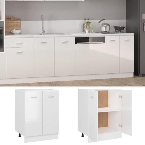 vidaXL Kitchen Cabinet High Gloss White Chipboard Storage Cupboard Sideboard