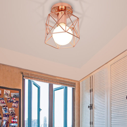 (Rose Gold) Vintage Industrial Ceiling Light Fixture Metal Flush Mount