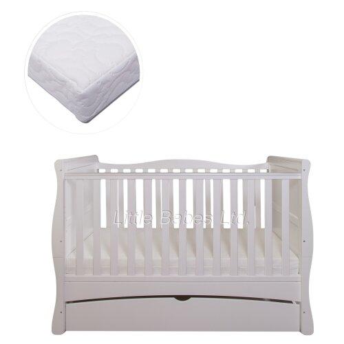 White Sleigh MASON Cot Bed, Drawer + Mattress 140x70x10cm