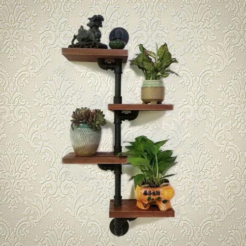 Vintage Pipe Wooden Metal Wall Floating Shelf Storage Shelving Unit