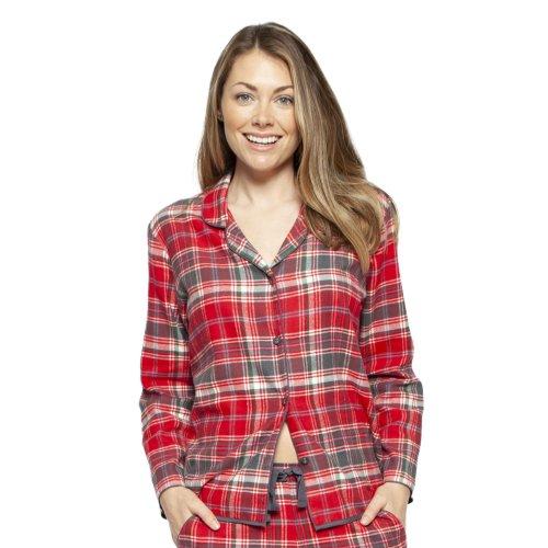 Cyberjammies 4254 Women's Belle Red Mix Check Cotton Pyjama Top