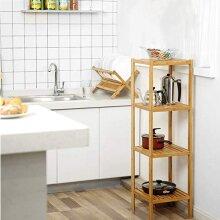 Bamboo Bathroom Shelf Free Standing Shelving Unit 4 Tier Narrow Shelf