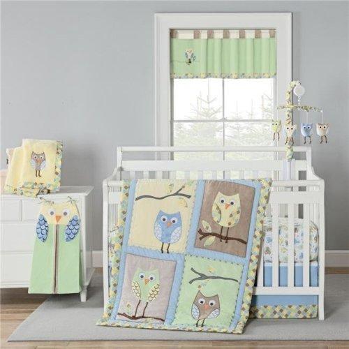 Piece Mod Owls Crib Bedding Set, Owl Nursery Bedding Yellow
