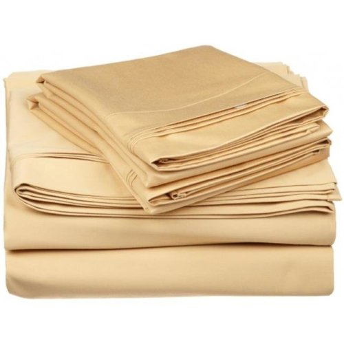 Egyptian Cotton 650 Thread Count Solid Sheet Set  Split King-Gold