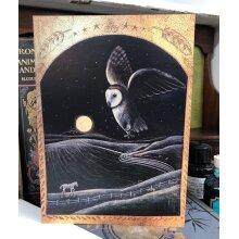 Homeward Bound under the Lantern Moon greetings card by Hannah Willow