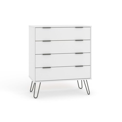 White Chest of 4 Drawers Bedroom Living Room Storage Furniture Metal Handles