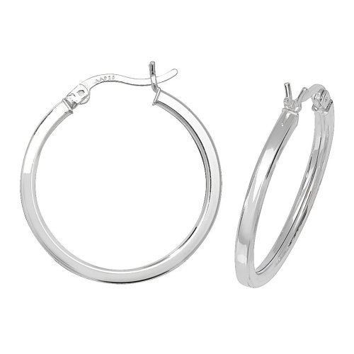 Sterling Silver Plain Square Tube Hoops 25mm   New
