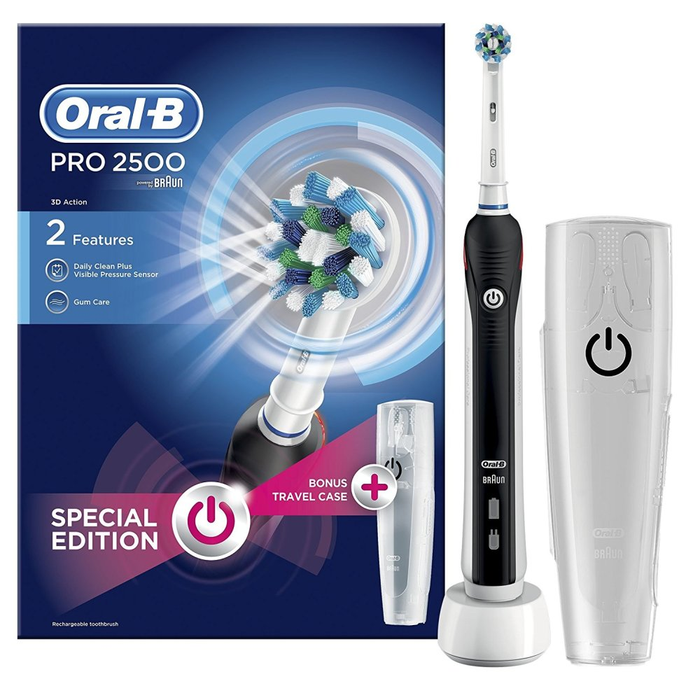 Oral B Pro 2500 Electric Rechargeable Toothbrush Powered by Braun Black Ships with a UK 2 pin plug
