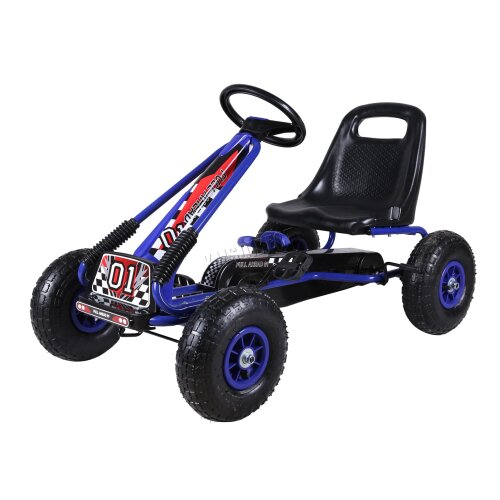(Blue) GALACTICA Kids Go Kart Ride On Car Pedal With Rubber Wheels Adjustable Seat G02