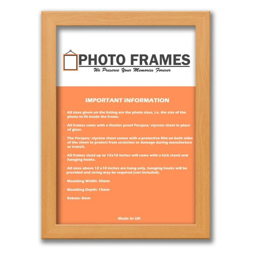(Beech, A1- 840x594mm) Picture Photo Frames Flat Wooden Effect Photo Frames