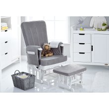 Obaby Deluxe Reclining Glider Chair And Stool - White Grey
