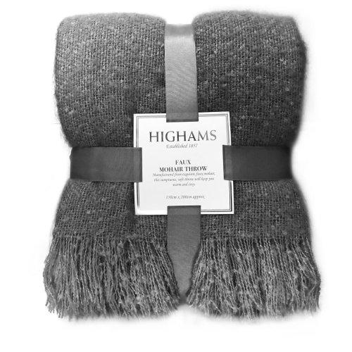 (Charcoal Dark Grey, Large - 150 x 200 cm) Highams Mohair Throw