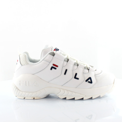 (3 (Adults')) Fila Countdown Low White Leather Womens Trainers 1010751 1FG