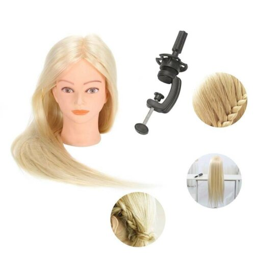 "24"" Human Hair Salon Hairdressing Training Head Mannequin Doll + Clamp"