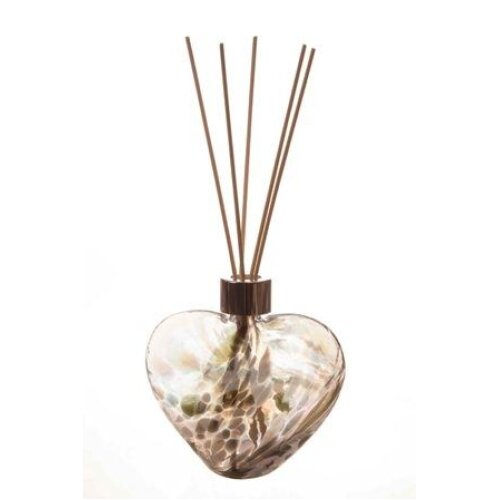 Heart Shaped Reed Diffuser Silver Grey by Amelia Art Glass