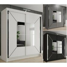Nicole Double Mirrored Wardrobe | Sliding Wardrobe With Light