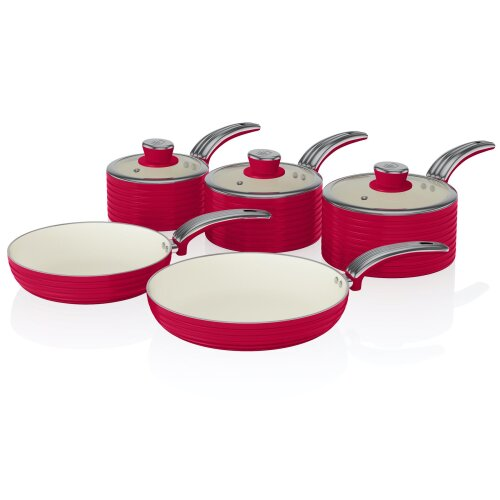 Swan Red Retro Non-Stick 5pce Pan Set, 3 Saucepans 16/18/20cm, 2 Frying Pans 20/28cm with Tempered Glass Lids & Compatible with Induction Hobs