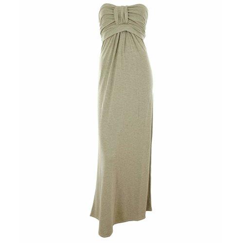 (Grey, 16-18) Arcene New Womens Plus Size Knot Bust Jersey Plain Coloured Block Boobtube Bandeau Ladies Maxi Dress