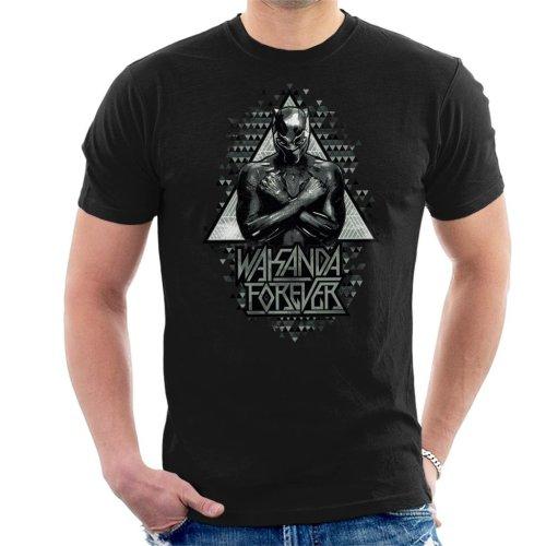 (Medium, Black) Marvel Black Panther Wakanda Forever Arm Cross Men's T-Shirt